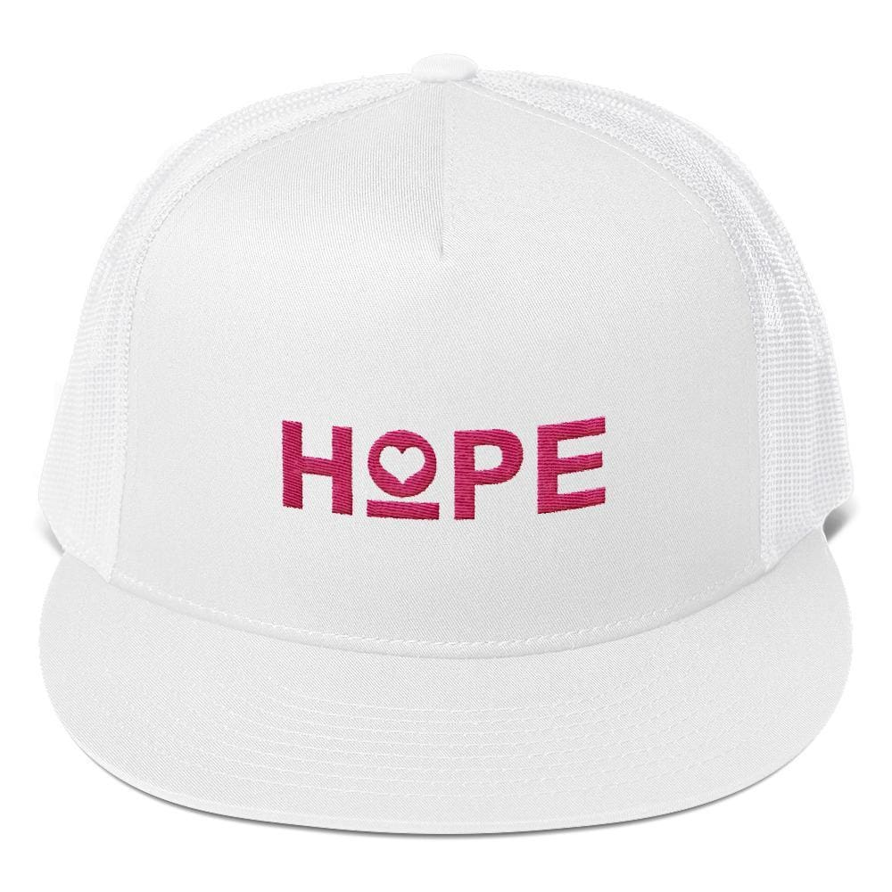 Hope Heart 5-Panel Snapback Trucker Hat - One-size / White - Hats