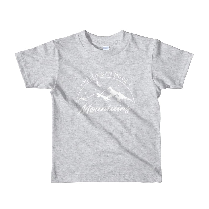 Kids Faith Can Move Mountains Christian T-Shirt - 2yrs / Heather Grey - T-Shirts
