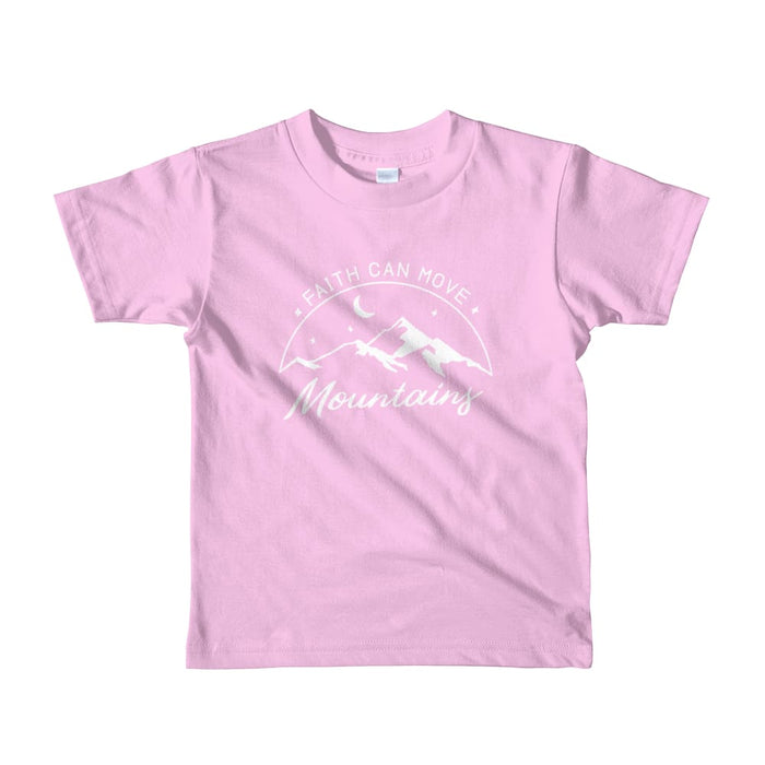 Kids Faith Can Move Mountains Christian T-Shirt - 2yrs / Pink - T-Shirts