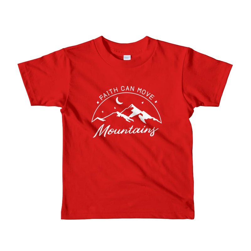Kids Faith Can Move Mountains Christian T-Shirt - 2yrs / Red - T-Shirts