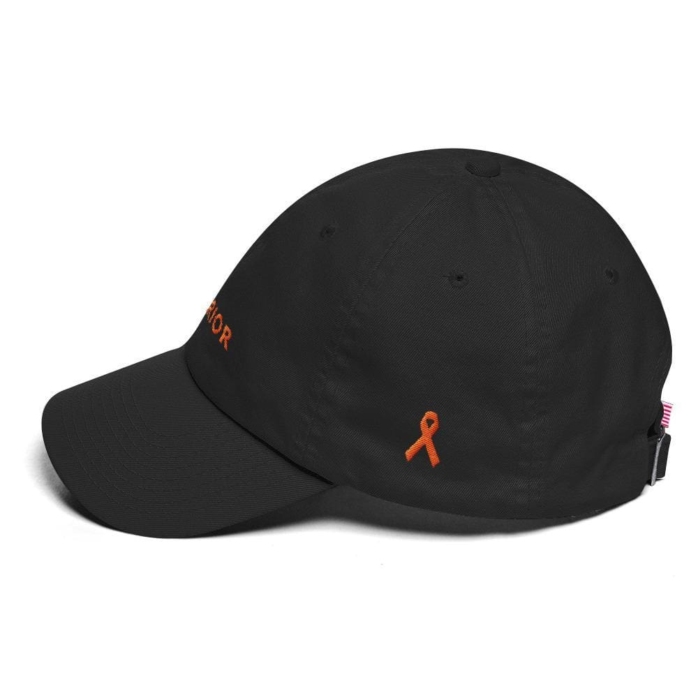 Leukemia Awareness Dad Hat with Warrior & Orange Ribbon - Hats