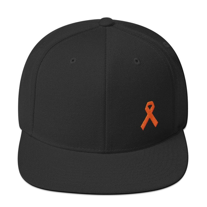 Leukemia Awareness Flat Brim Snapback Hat with Orange Ribbon - One-size / Black - Hats