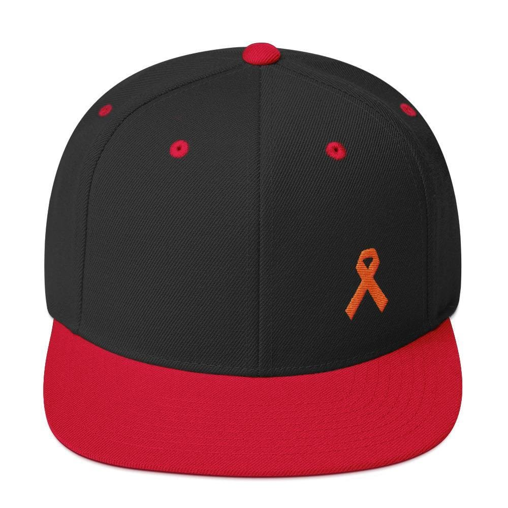 Leukemia Awareness Flat Brim Snapback Hat with Orange Ribbon - One-size / Black/ Red - Hats