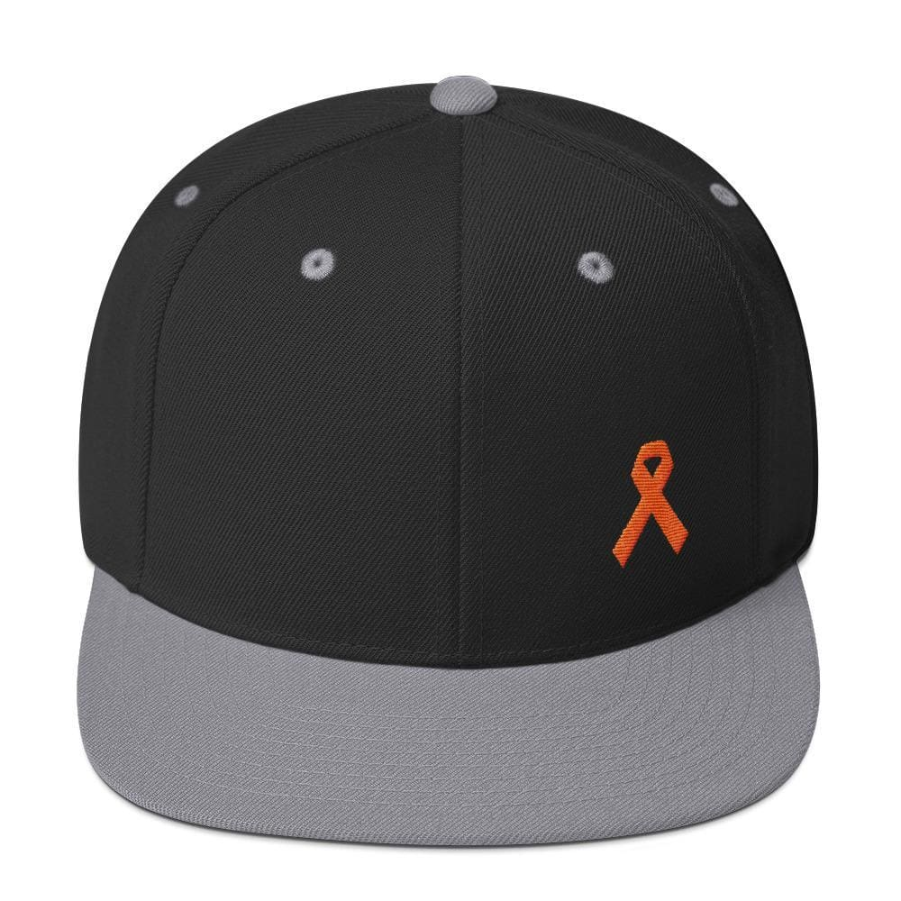 Leukemia Awareness Flat Brim Snapback Hat with Orange Ribbon - One-size / Black/ Silver - Hats