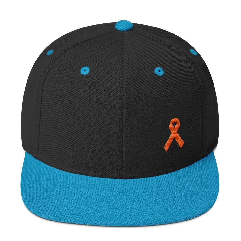Leukemia Awareness Flat Brim Snapback Hat with Orange Ribbon - One-size / Black/ Teal - Hats