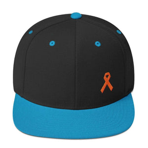 Load image into Gallery viewer, Leukemia Awareness Flat Brim Snapback Hat with Orange Ribbon - One-size / Black/ Teal - Hats
