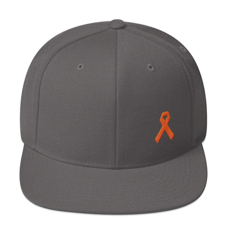 Leukemia Awareness Flat Brim Snapback Hat with Orange Ribbon - One-size / Dark Grey - Hats