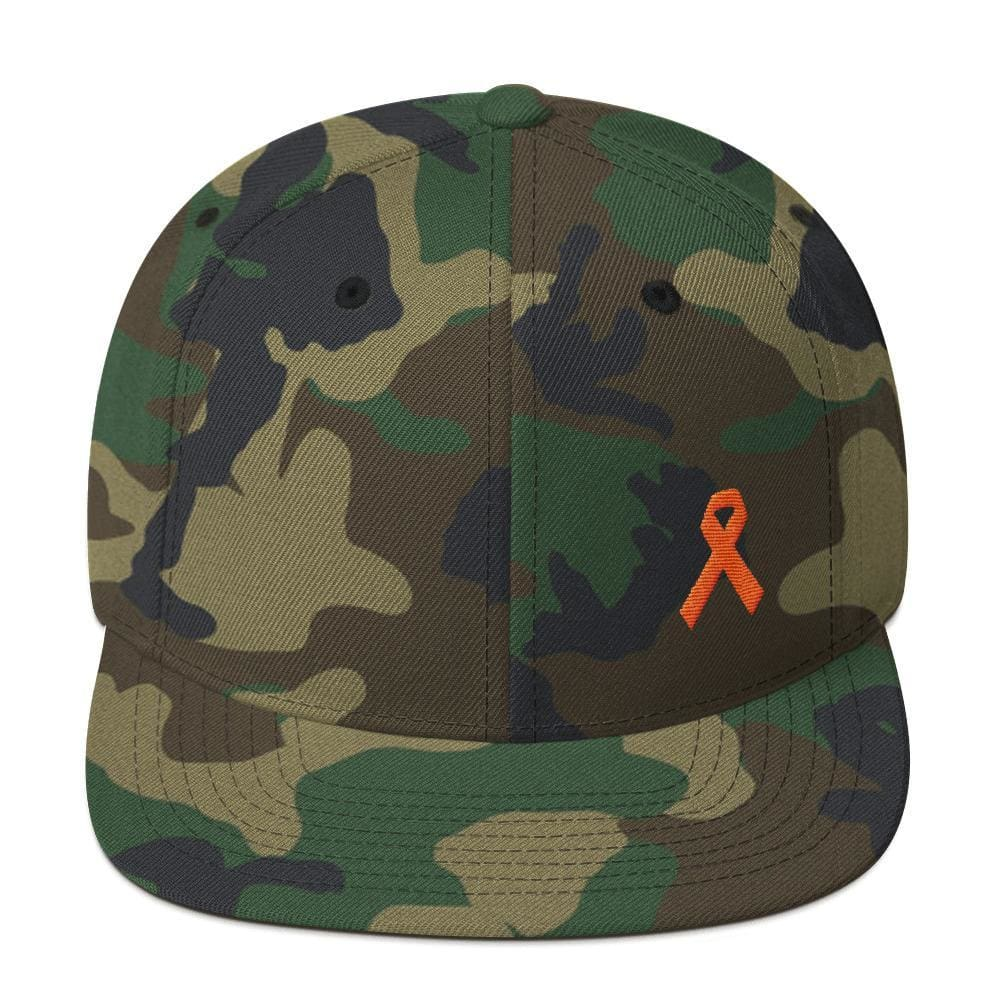 Leukemia Awareness Flat Brim Snapback Hat with Orange Ribbon - One-size / Green Camo - Hats