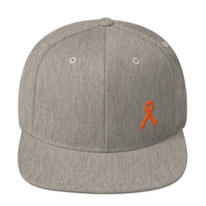 Load image into Gallery viewer, Leukemia Awareness Flat Brim Snapback Hat with Orange Ribbon - One-size / Heather Grey - Hats
