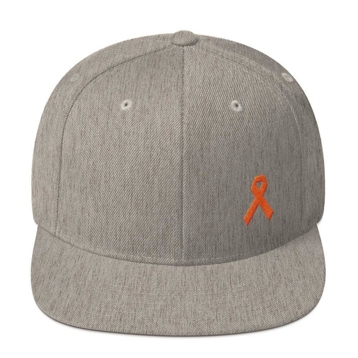 Leukemia Awareness Flat Brim Snapback Hat with Orange Ribbon - One-size / Heather Grey - Hats