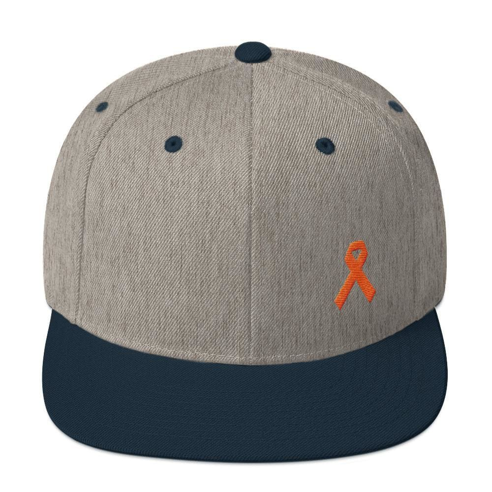 Leukemia Awareness Flat Brim Snapback Hat with Orange Ribbon - One-size / Heather Grey/ Navy - Hats