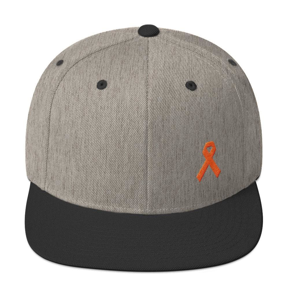 Leukemia Awareness Flat Brim Snapback Hat with Orange Ribbon - One-size / Heather/Black - Hats