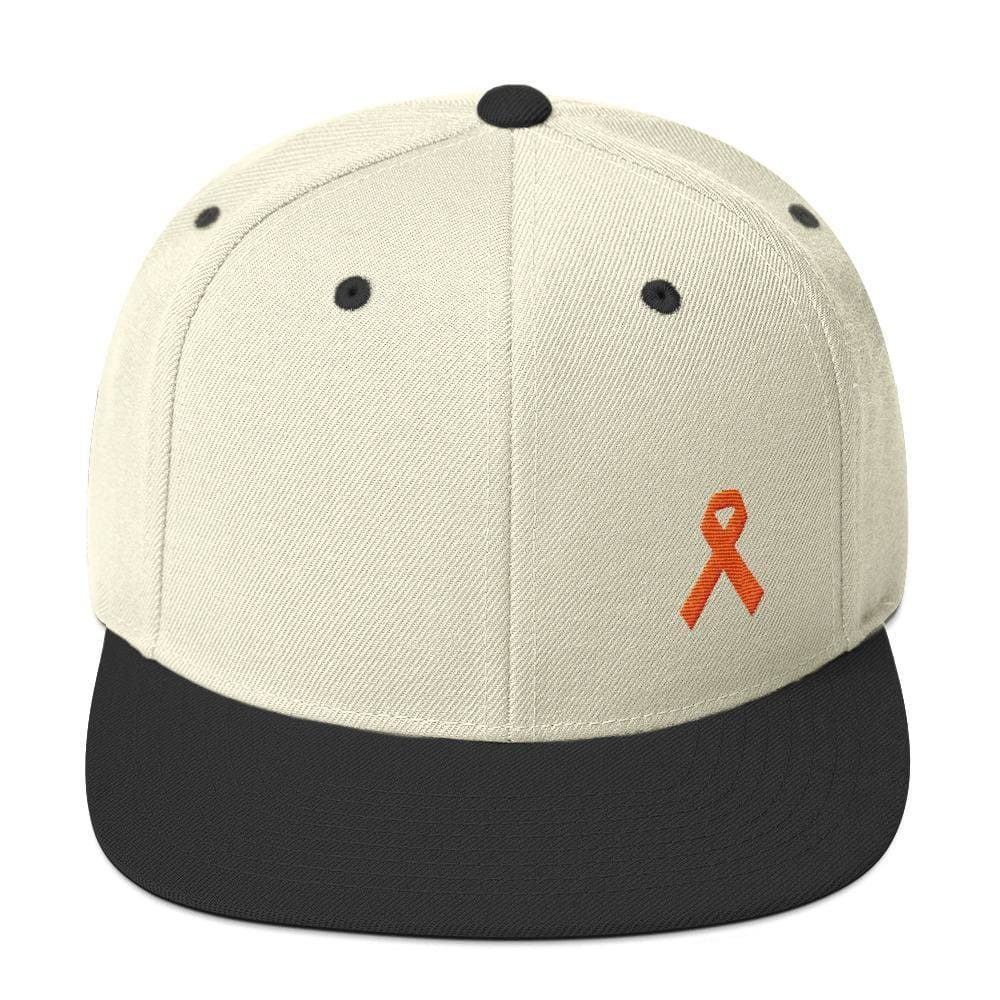 Leukemia Awareness Flat Brim Snapback Hat with Orange Ribbon - One-size / Natural/ Black - Hats