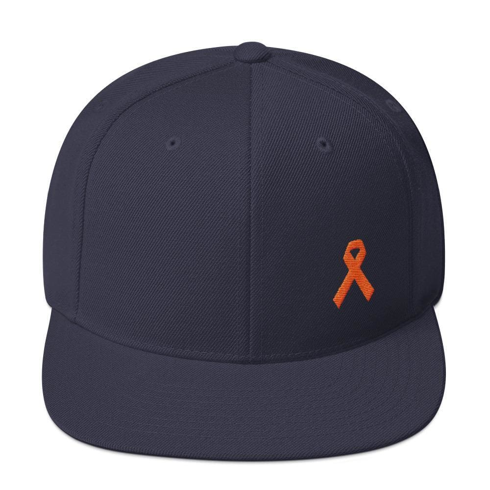 Load image into Gallery viewer, Leukemia Awareness Flat Brim Snapback Hat with Orange Ribbon - One-size / Navy - Hats