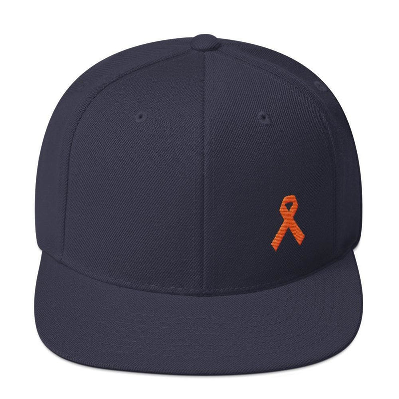 Leukemia Awareness Flat Brim Snapback Hat with Orange Ribbon - One-size / Navy - Hats