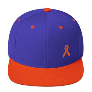Leukemia Awareness Flat Brim Snapback Hat with Orange Ribbon - One-size / Royal/ Orange - Hats
