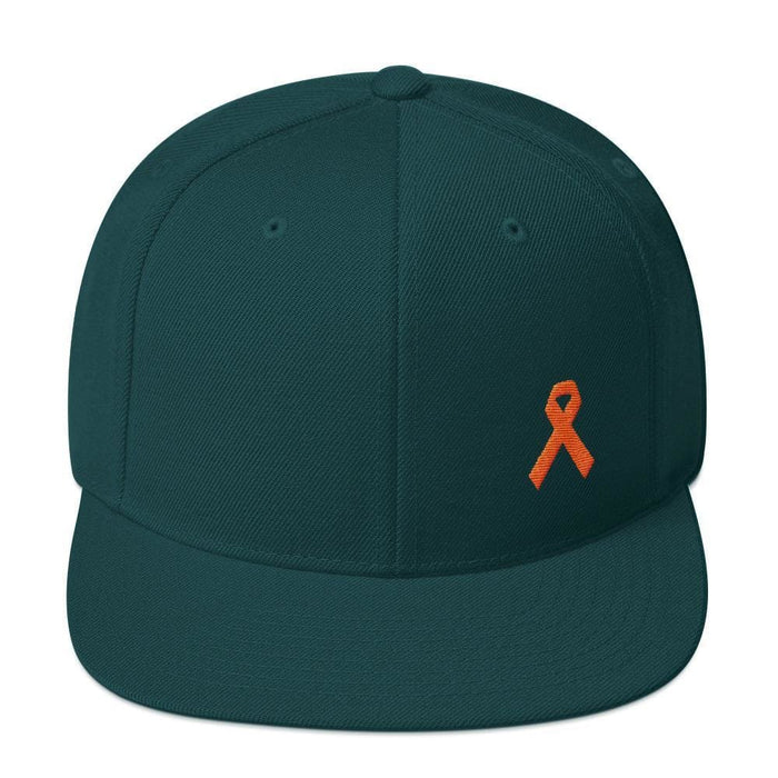 Leukemia Awareness Flat Brim Snapback Hat with Orange Ribbon - One-size / Spruce - Hats