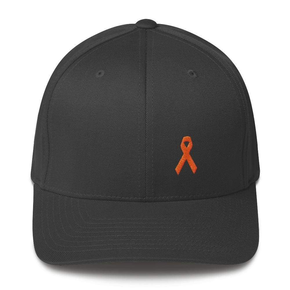 Leukemia Awareness Twill Flexfit Fitted Hat With Orange Ribbon - S/m / Dark Grey - Hats