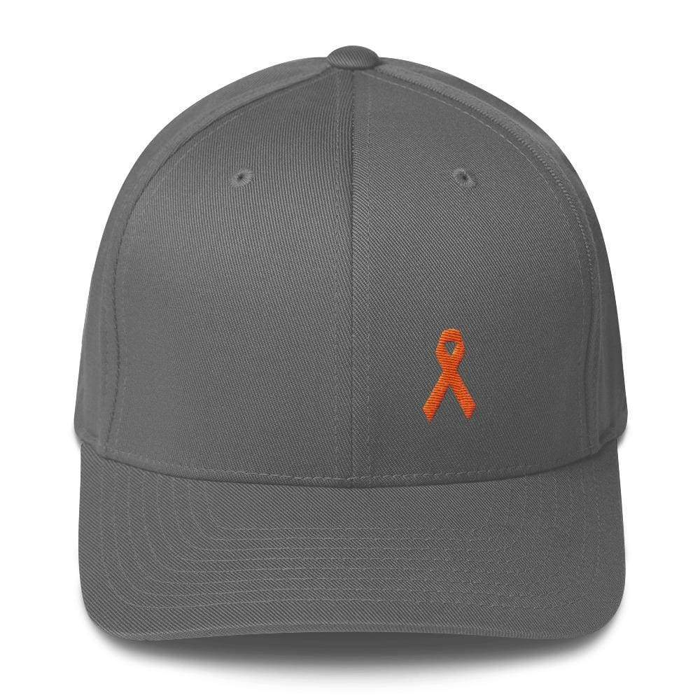 Load image into Gallery viewer, Leukemia Awareness Twill Flexfit Fitted Hat With Orange Ribbon - S/m / Grey - Hats
