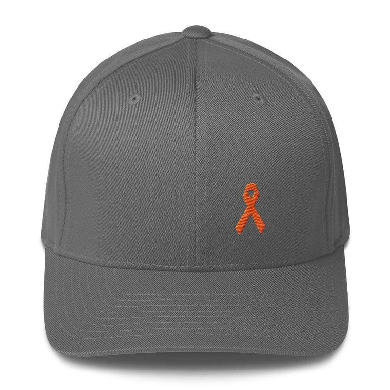 Leukemia Awareness Twill Flexfit Fitted Hat With Orange Ribbon - S/m / Grey - Hats