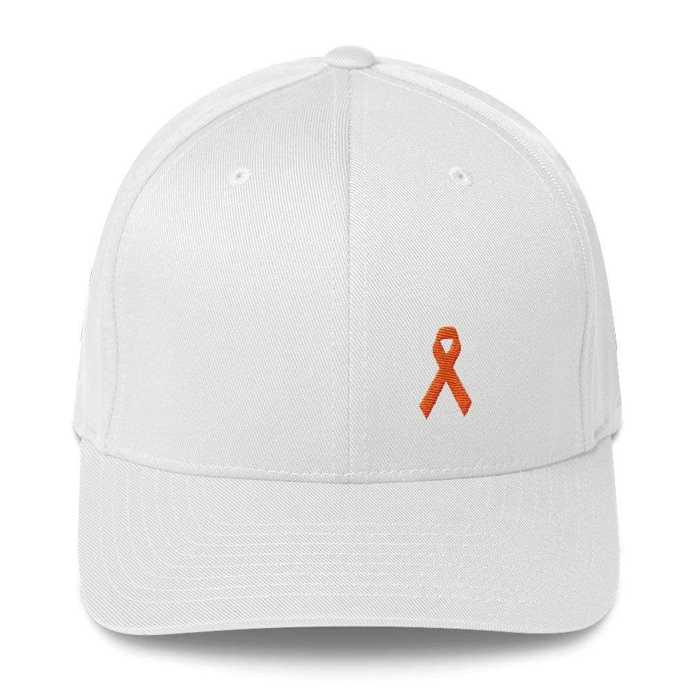 Load image into Gallery viewer, Leukemia Awareness Twill Flexfit Fitted Hat With Orange Ribbon - S/m / White - Hats