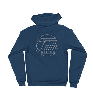Live by Faith Christian Zip Up Hoodie - S / Sea Blue - Sweatshirts