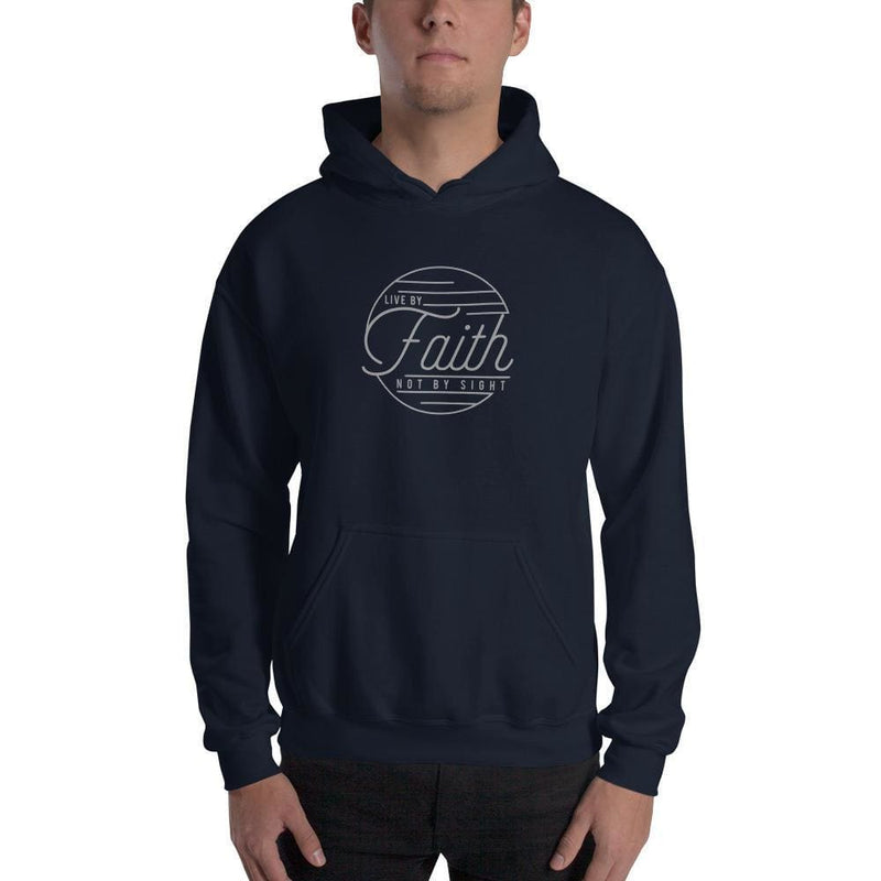 Live by Faith Not by Sight Christian Hoodie Sweatshirt - S / Navy - Sweatshirts