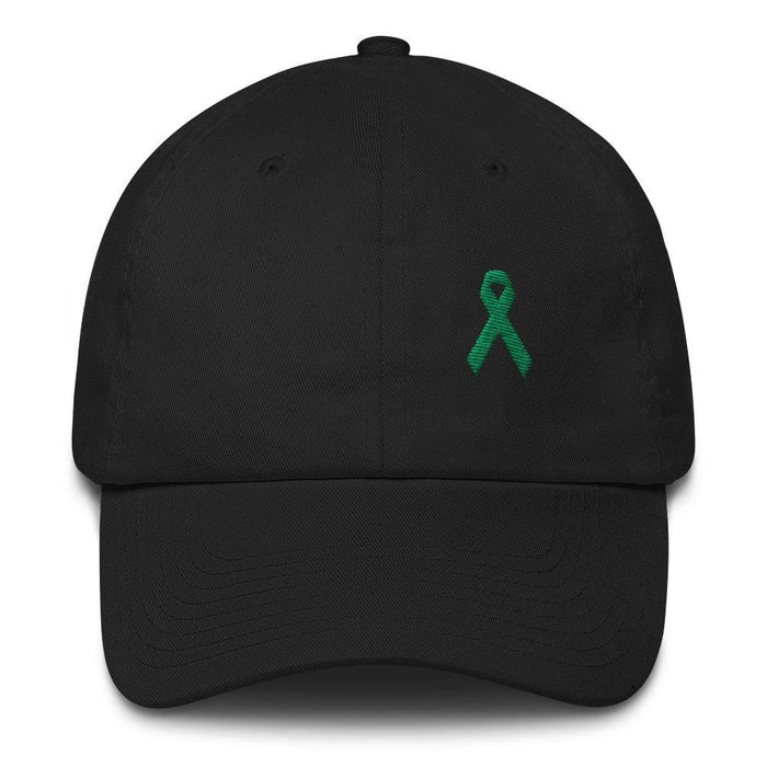 Liver Cancer & Gallbladder Cancer Awareness Dad Hat with Green Ribbon - One-size / Black - Hats
