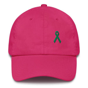 Liver Cancer & Gallbladder Cancer Awareness Dad Hat with Green Ribbon - One-size / Bright Pink - Hats