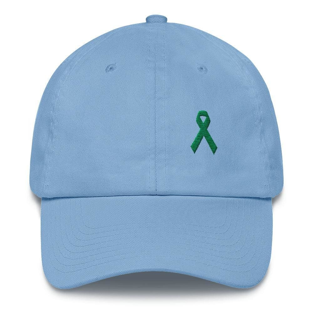 Load image into Gallery viewer, Liver Cancer & Gallbladder Cancer Awareness Dad Hat with Green Ribbon - One-size / Carolina Blue - Hats