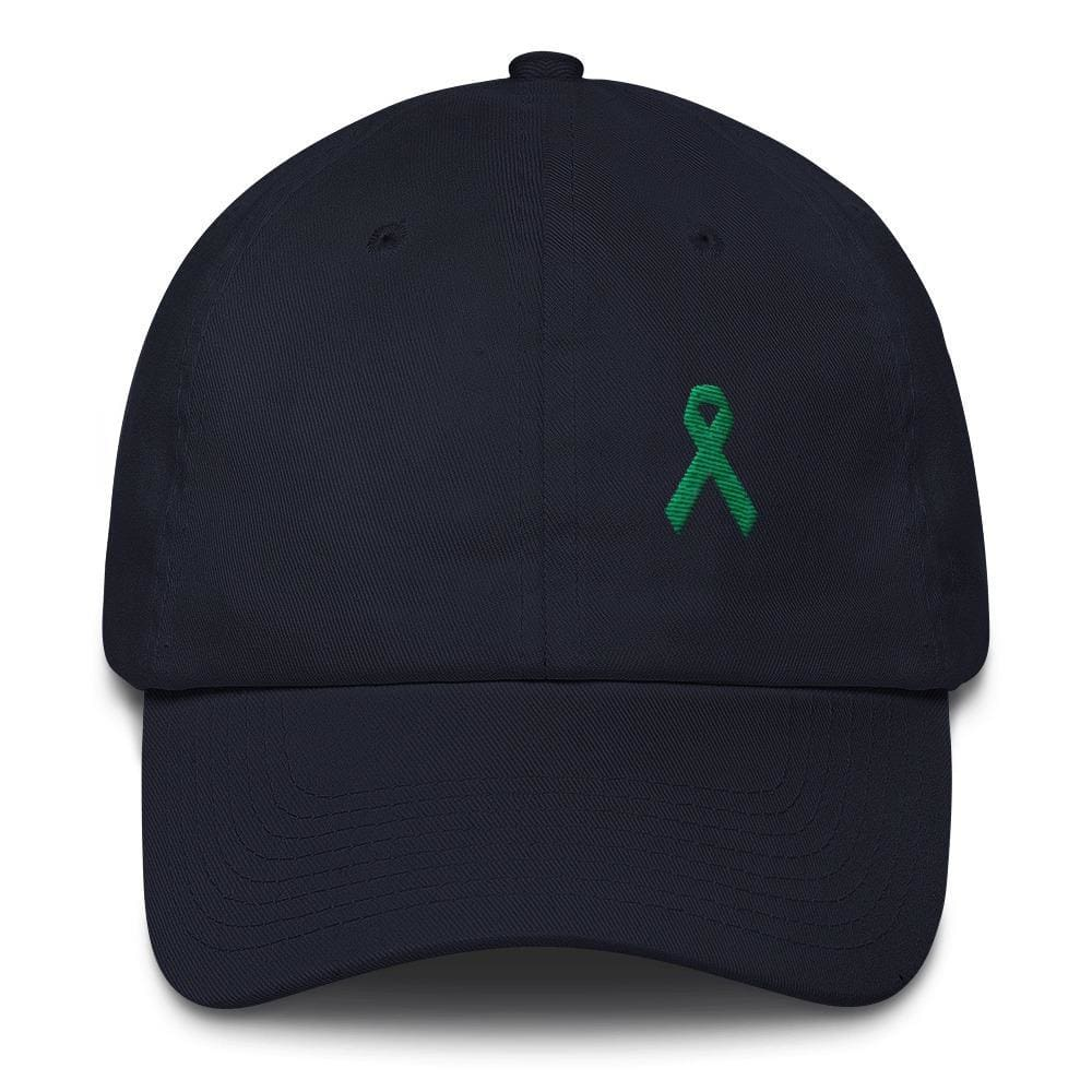 Liver Cancer & Gallbladder Cancer Awareness Dad Hat with Green Ribbon - One-size / Navy - Hats