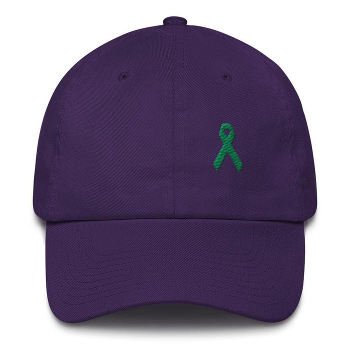 Liver Cancer & Gallbladder Cancer Awareness Dad Hat with Green Ribbon - One-size / Purple - Hats