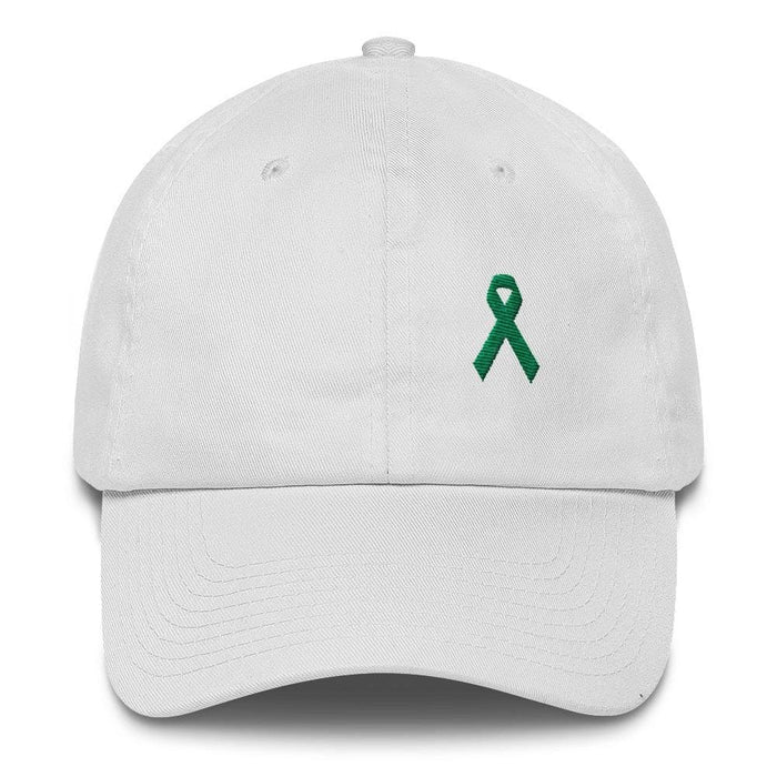 Liver Cancer & Gallbladder Cancer Awareness Dad Hat with Green Ribbon - One-size / White - Hats