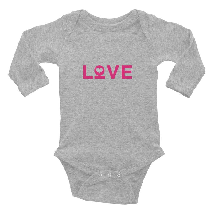 Love Baby Long Sleeve Onesie - 6M / Heather - Onesie