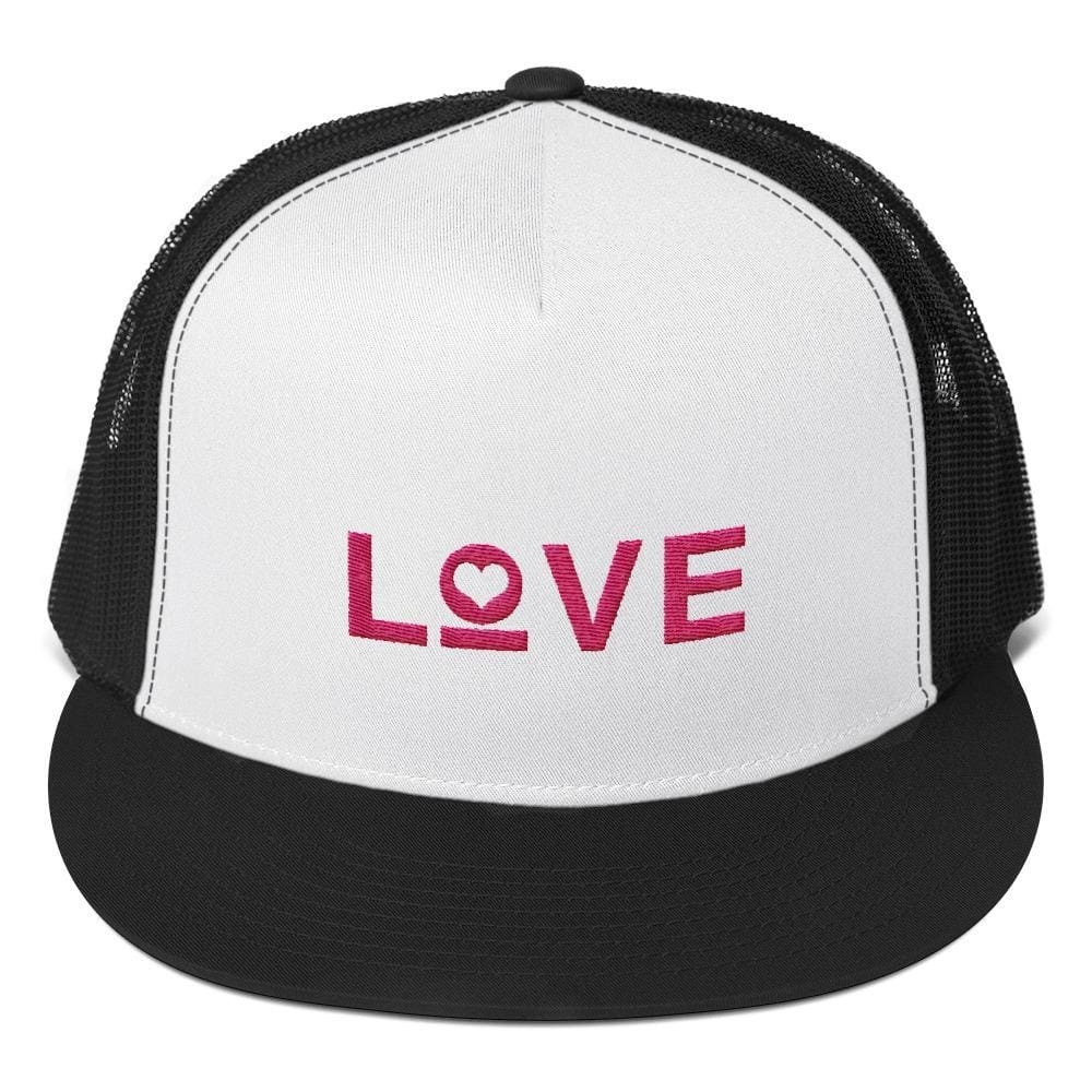 Love Heart 5-Panel Snapback Trucker Hat - One-size / Black - Hats