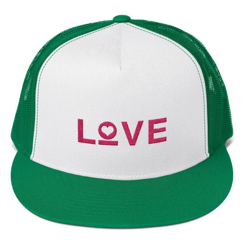 Love Heart 5-Panel Snapback Trucker Hat - One-size / Kelly Green - Hats