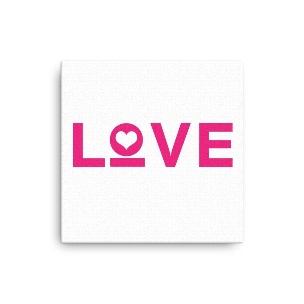 Love Heart Canvas Wall Art - 12×12 / White - Wall Art