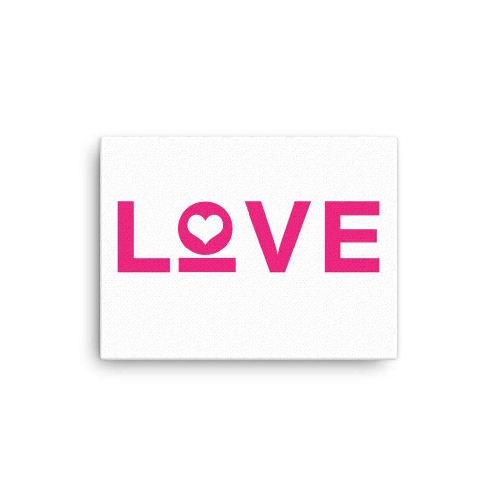 Love Heart Canvas Wall Art - 12×16 / White - Wall Art
