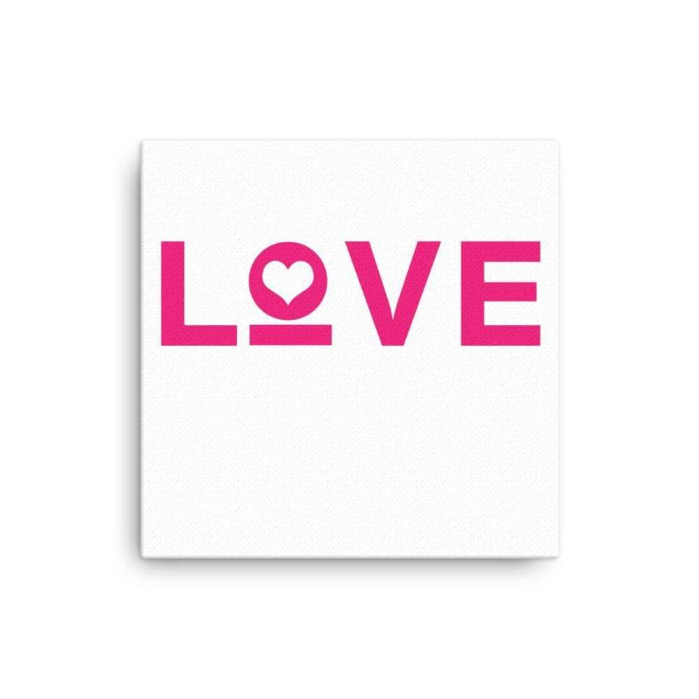 Love Heart Canvas Wall Art - 16×16 / White - Wall Art