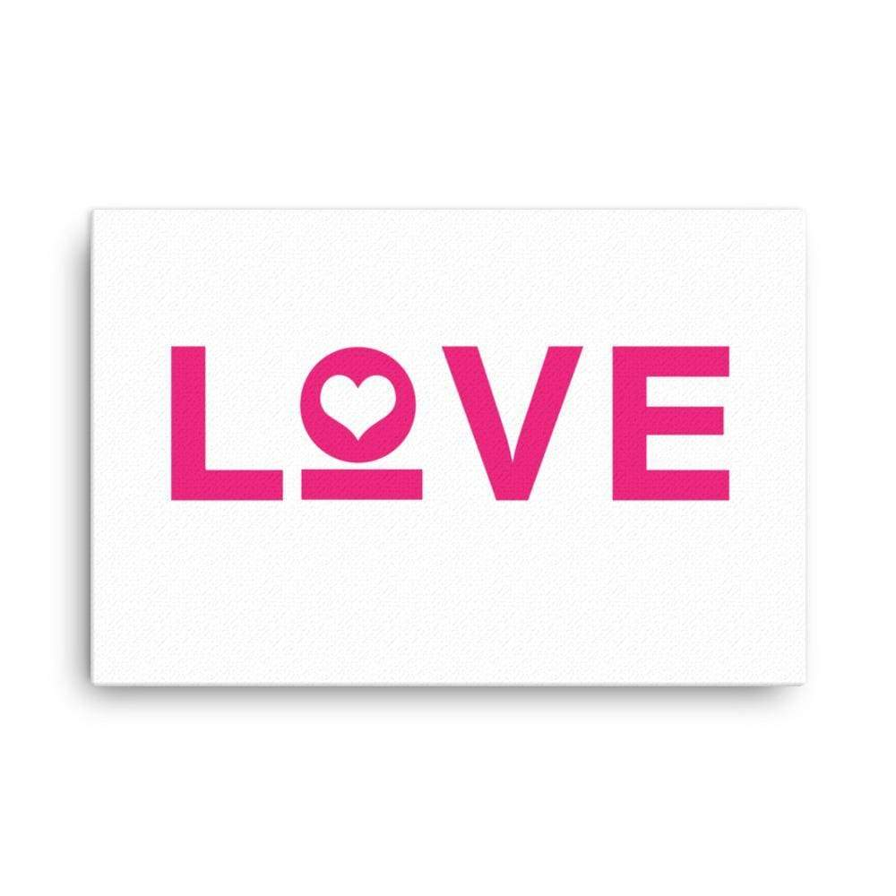 Love Heart Canvas Wall Art - 24×36 / White - Wall Art