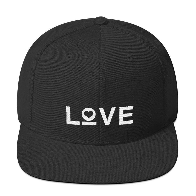 Love Snapback Hat with Flat Brim - One-size / Black - Hats