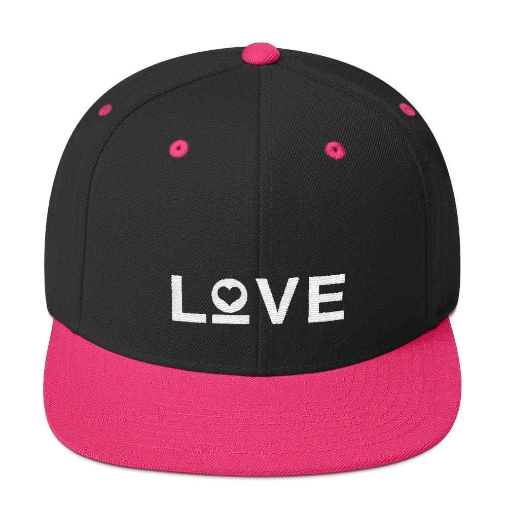 Love Snapback Hat with Flat Brim - One-size / Black/ Neon Pink - Hats