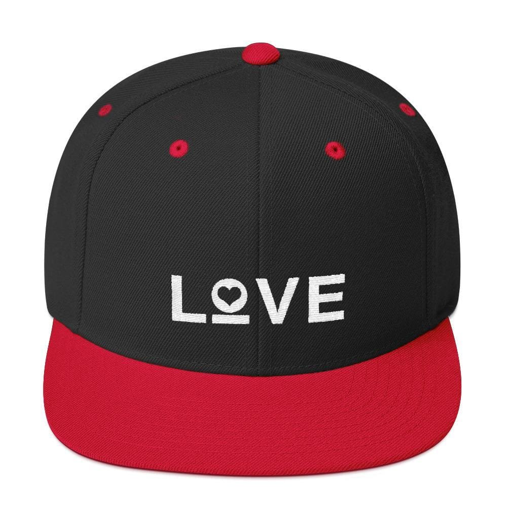 Love Snapback Hat with Flat Brim - One-size / Black/ Red - Hats