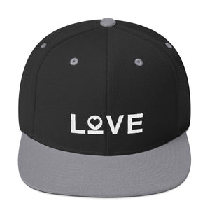 Love Snapback Hat with Flat Brim - One-size / Black/ Silver - Hats