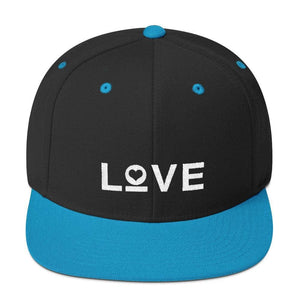 Love Snapback Hat with Flat Brim - One-size / Black/ Teal - Hats