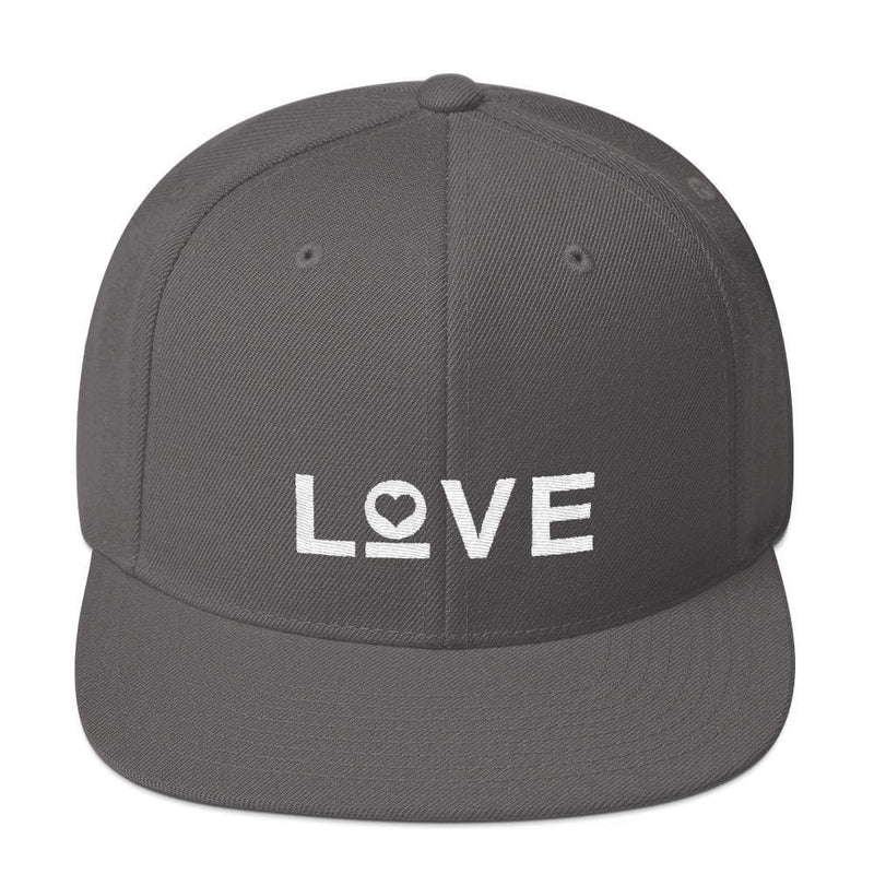 Love Snapback Hat with Flat Brim - One-size / Dark Grey - Hats