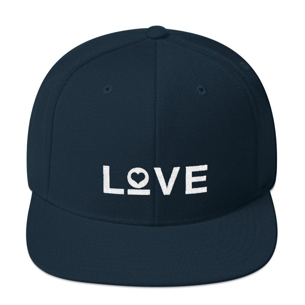 Love Snapback Hat with Flat Brim - One-size / Dark Navy - Hats