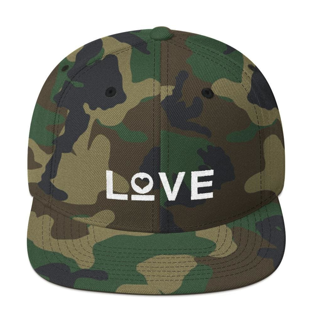 Love Snapback Hat with Flat Brim - One-size / Green Camo - Hats