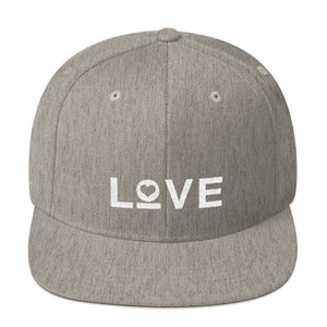 Love Snapback Hat with Flat Brim - One-size / Heather Grey - Hats