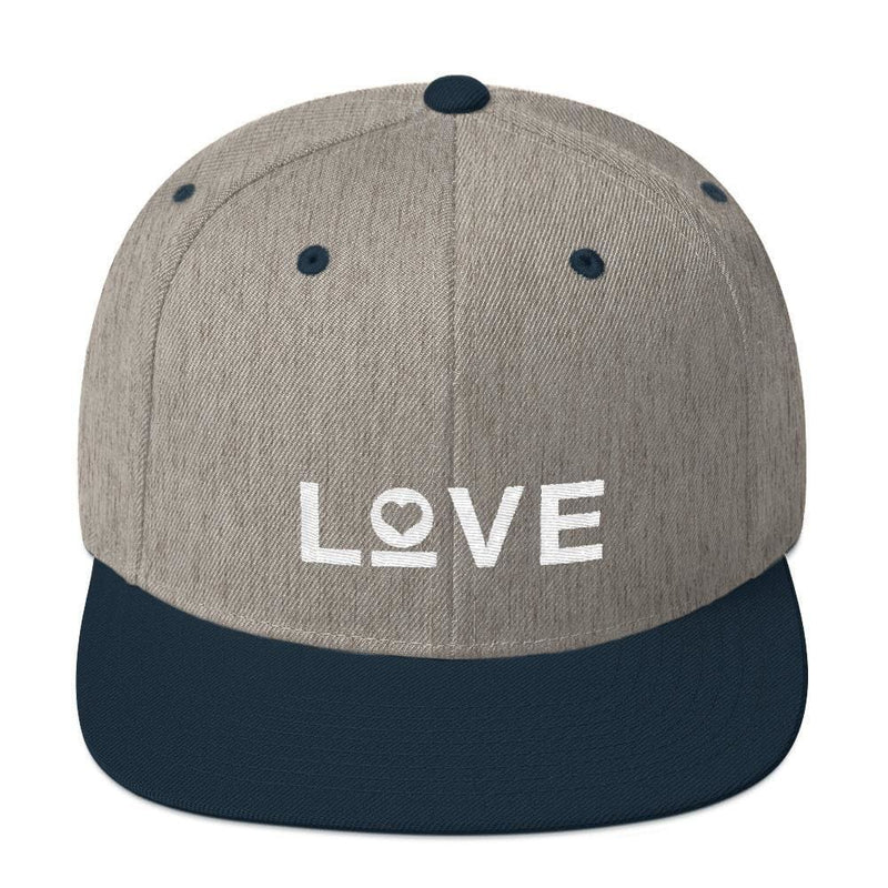 Love Snapback Hat with Flat Brim - One-size / Heather Grey/ Navy - Hats